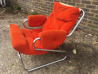 Original 1970s Scandinavian orange corduroy sprung steel chair
