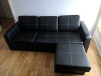 Black Leather Chaise Corner Sofa