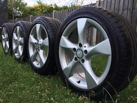 2015 GENUINE MERCEDES BENZ A B C CLASS SPORT ALLOY WHEELS WITH TYRES & CAPS..