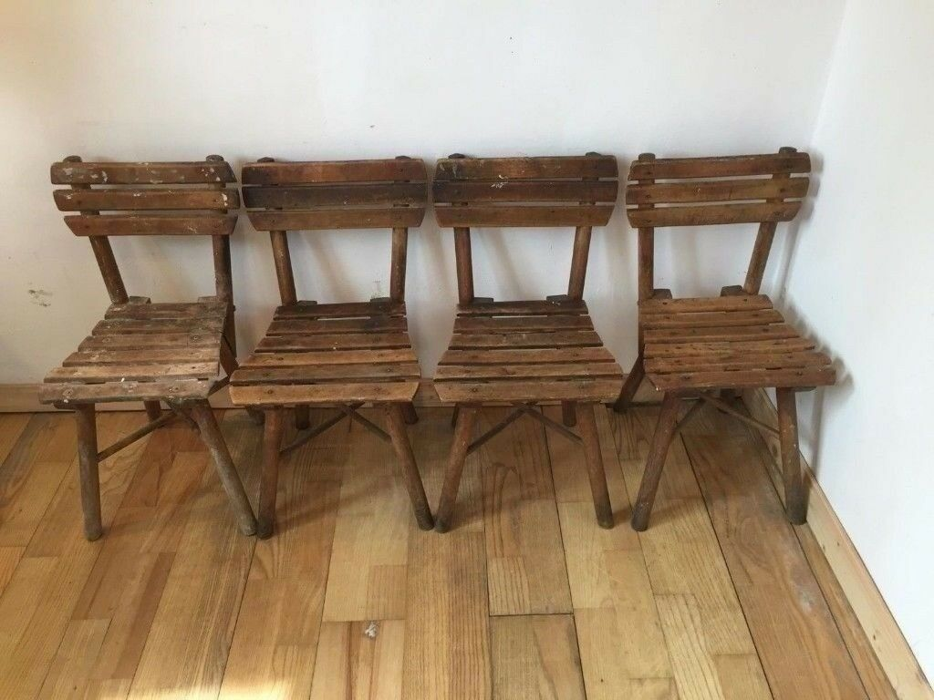 4x Antique Children's Chairs Wooden Rustic Seating Photography or Childcare  Café Kids - 4x Antique Children's Chairs Wooden Rustic Seating Photography Or