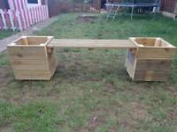 Garden bench with 2 planters
