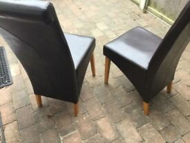 EXCELLENT PAIR OF BROWN LEATHER TYPE CHAIRS