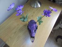 Purple Crystal Deer Skull Ornament Flower Antler Pretty One Off