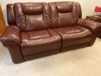 2 Matching luxuriously supple full leather double reclining sofas