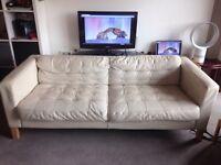 Ikea Cream Real Leather Sofa
