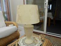MARKS AND SPENCER TABLE LAMP CREAM WITH CREAM DAMASK SHADE EXCELLENT CONDITION.