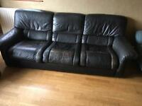 Dark Brown Leather Settee and 2 chairs