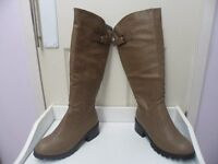 Womens Ladies Khaki Mid Block Heel Stretch Knee High Boots Size UK 4,5,6,7 New