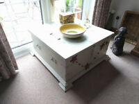 Solid wood distressed storage chest