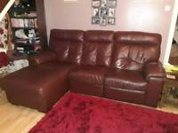 Brown leather corner sofa