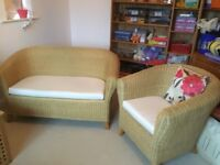 2seater settee and 2 chairs, wicker with cushions