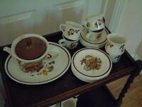 Midwinter Tea service, Teapot, jug, sugar bowl, cups,saucers, plates, server platter,