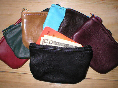 """LEATHER Zip Zippered Coin Change Pouch Purse Wallet 3"""" x 4.75"""" Handmade in USA"""