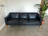 Danish black three seater leather sofa - Stouby