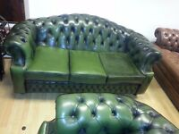 beautiful green leather chesterfield 3 setter high back armchair & club chair. excellent condition.