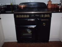 Rangemaster Classic 90 Electric Oven. Black and brass