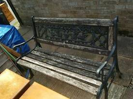 Vintage ornate Cast Iron Garden Bench.