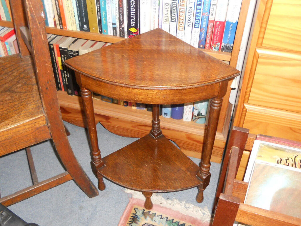 Solid Oak Corner Tables - 2 Available - £12 each
