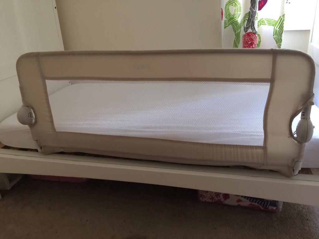Tomy Uni Beige Folding Bed Guard Rail Breathable Mesh Adjule Single Toddler Universal Fit