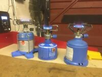 3 x Camping Stoves with Gas Cylinders