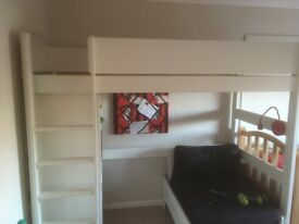 Loft Bed frame and draws with separate single chair bed.