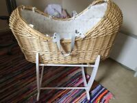 Peter Rabbit Noah pod Moses basket with rocking stand and Little Green Sheep organic mattress
