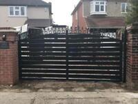 Wood and metal steel slide gate