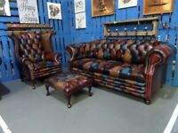 NEW Chesterfield Harlequin Suite 3 Seater Sofa, Wing Back Chair Antique Leather UK Delivery