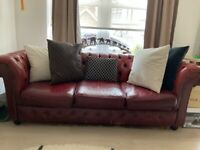 Chesterfield (3 seater) Leather Sofa - Oxblood colour