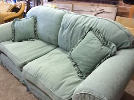 """3 seater sofa, big(6'6"""").removeable covers, light green, good condition"""