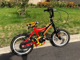 "Boys 14 inch wheel ammaco bike 14"", red and black, v good cond"
