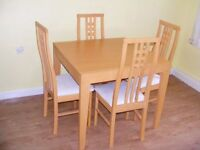 CAN DELIVER - SPACE SAVER JULIAN BOWEN EXTENDED DINING TABLE + 4 CHAIRS IN VERY GOOD CONDITION