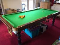 Snooker / Pool Table, Mahogany Solid Wood, One Piece Slate Top