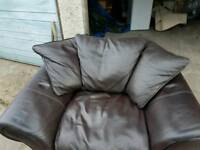 PAIR OF SINGLE LEATHER ARMCHAIRS