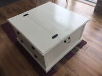 Aged Off White 'Country' Wooden Storage Chest
