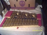 XYLOPHONE with METAL BARS , CHROMATIC RANGE about 2 OCTAVES ? +++ +++ +++
