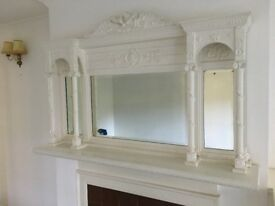 Period fireplace over mantel mirror