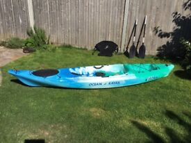 Ocean kayak Venus 11. Used twice ,seat and backrest two part paddle and an unused one piece paddle.
