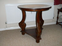 Leather and Wood Topped Hall / Occasional Table
