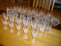 28 x CUT GLASS DRINKING GLASSES - in very good condition