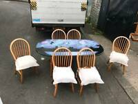 Upstyled Soild pinewood dining table with 6chairs
