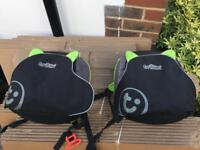 2 trunki backpack and booster seats