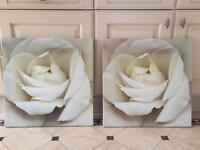 2 x cream rose canvas pictures