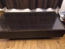 Large coffee table with storage drawers on both sides