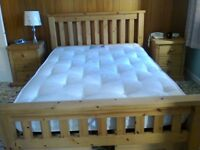 Oak framed double bed and mattress