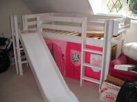 Flexa mid height white bed with slide and shelf