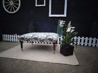 EXTRA LARGE SOLID PINE FOOT STOOL/COFFEE TABLE BEAUTIFUL STOOL COVERED WITH A CREAM/GREY VELVET