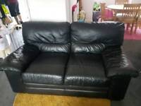 2 seater black leather sofa for sale good condition