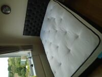 Double Divan Bed 135cm Leather effect Headboard with Mattress plus 2 drawers