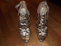 Gold gladiator style stiletto party shoes, Size 6, Worn only once, excellent condition